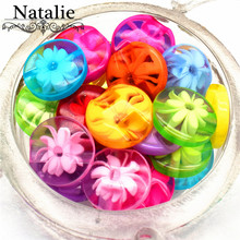 100Pcs Transparent 12mm sew-on buttons resin candy beautiful multicolour flower decorative  shirt button accessories baby diy