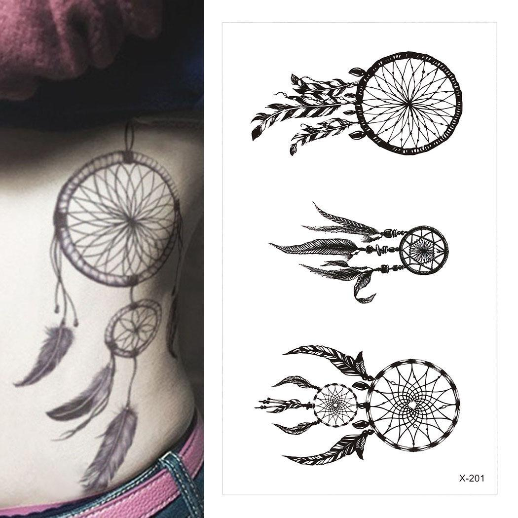 Feather Temporary Casual Tattoo Waterproof Letter Removable Sticker Body Pattern Black Fashion Sticker