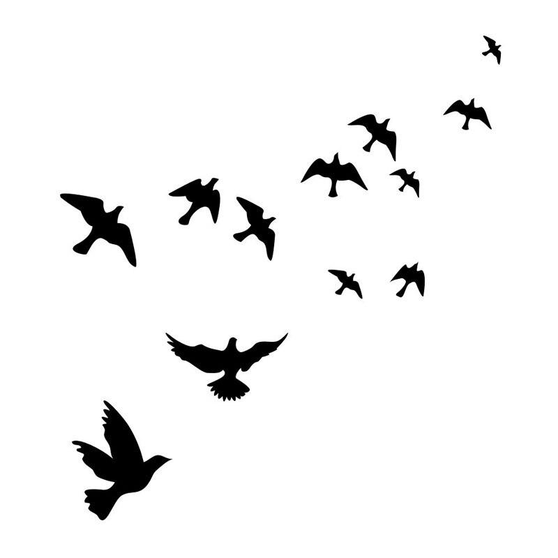 criativo um grupo de doze pombas adesivo de parede para parede da
