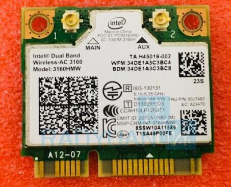 Dual Band Wireless-AC3160 3160HMW AC 3160AC Half Mini PCI-e  WI-FI 802.11 Ac+Bluetooth 4.0+433Mbps Wireless Wifi Card