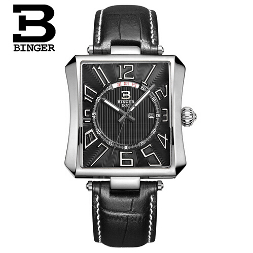 Luxury Brand Binger Date Rectangle Genuine Leather Waterproof Casual Quartz Watch Men Sports Wrist Watch Male Luminous Clock 2017 luxury brand binger date genuine steel strap waterproof casual quartz watches men sports wrist watch male luminous clock