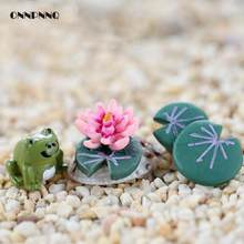3pcs/set Green Frog Lotus Resin Miniature Kids Toy Fairy Garden Miniatures Creative Abimal Terrarium Figurines home decoration(China)
