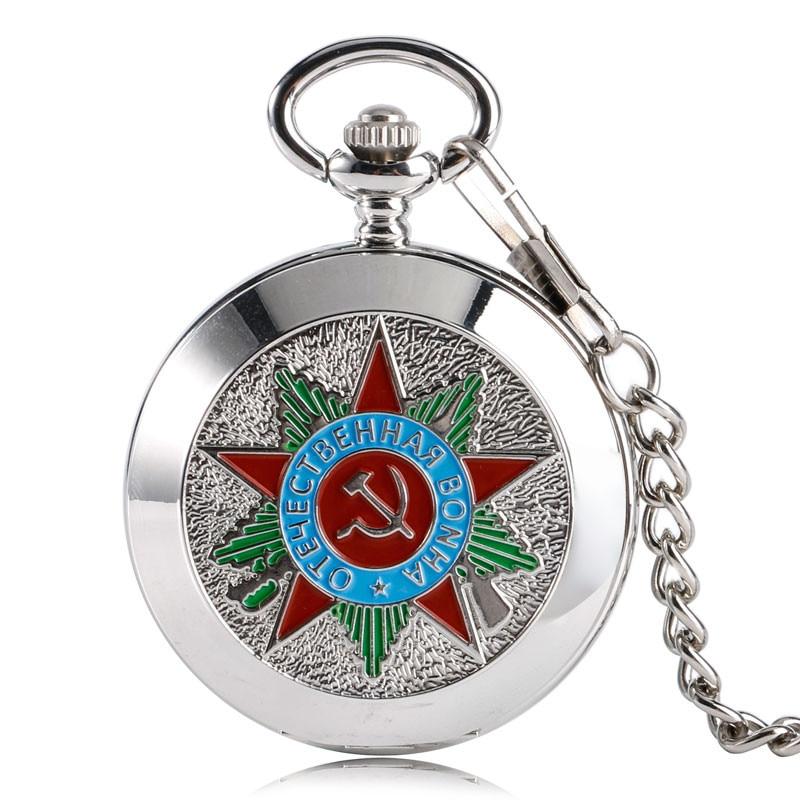 YISUYA Moda soviética Martillo Comunismo Diseño Reloj de bolsillo Mecánica Cadena de reloj Números romanos Hombres Mujeres Colgante de regalo