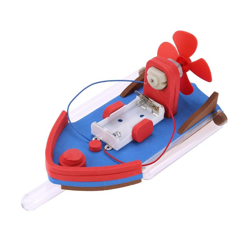 Boat DIY Mini Power Boat Assembly Model Kids Exercise Science Educational Funny Toys for Children