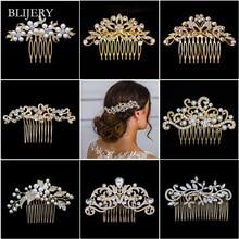 Женский свадебный гребешок для волос BLIJERY, золотистые жемчужные стразы с цветами, украшения для волос с кристаллами, аксессуары для волос