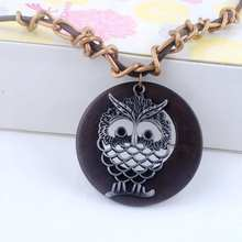 Antique Vintage Long Rope Chain Necklace Wooden Alloy Owl Pendants Neckless Cord Men Jewelry Accessories Free Shipping