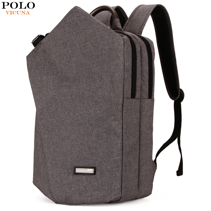 VICUNA POLO Casual Canvas Men Laptop Backpack With Metal Handle Large Capacity Double Layer Men School Bag Leisure Man mochilas large capacity casual man backpack