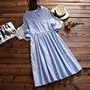 Robe Femme New Spring Autumn Women S Long Sleeves Clothing Japanese Mori Girl Striped Shirt Dress