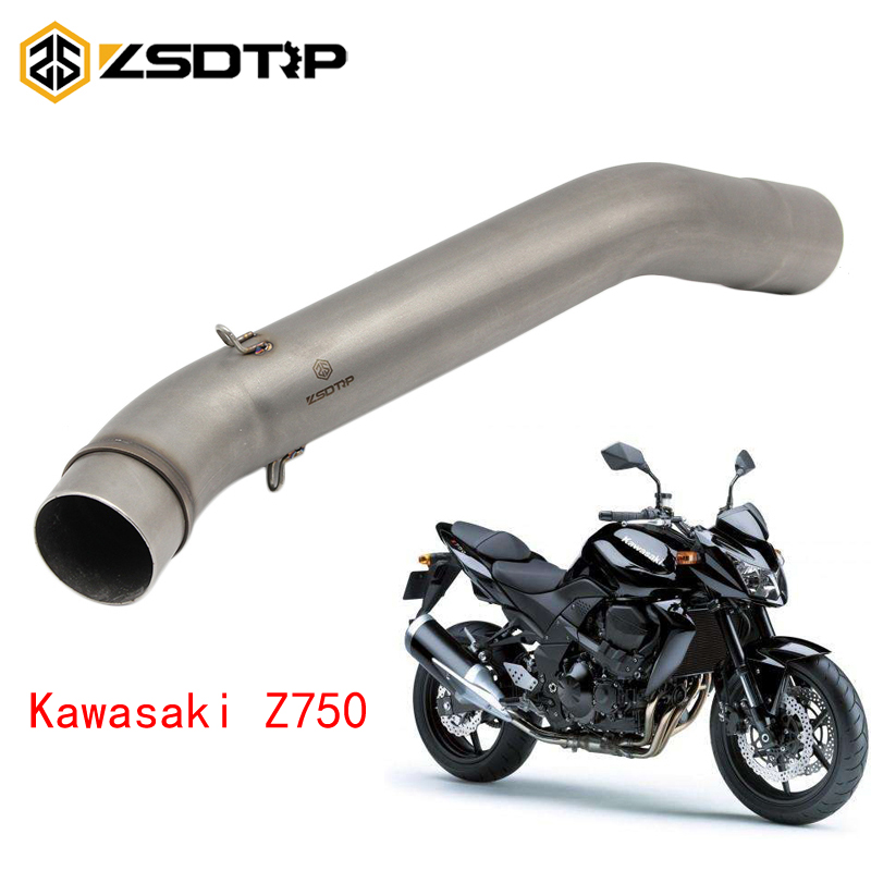 ZSDTRP 50.8mm Motorcycle <font><b>Exhaust</b></font> Middle Pipe Muffler For <font><b>Kawasaki</b></font> <font><b>Z750</b></font> Z750R 2007-2012 Without <font><b>Exhaust</b></font> image