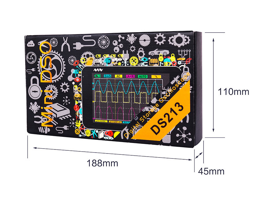 Ds213 mini digital osciloscópio portátil display lcd