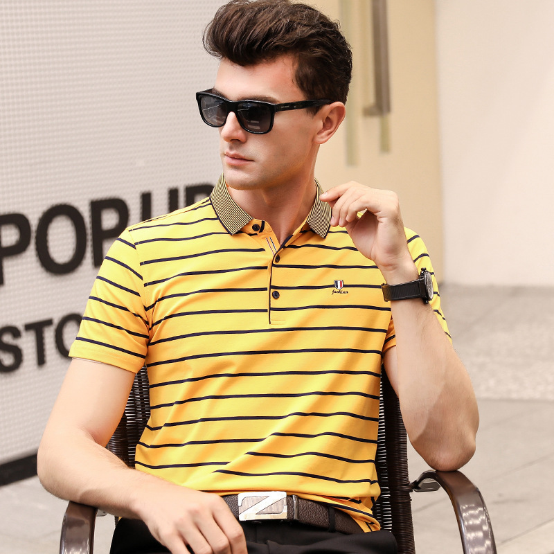 Polo   shirt men homme   polos   para hombre 2019 brands clothing striped short sleeve business casual plus size mens tops tee8536