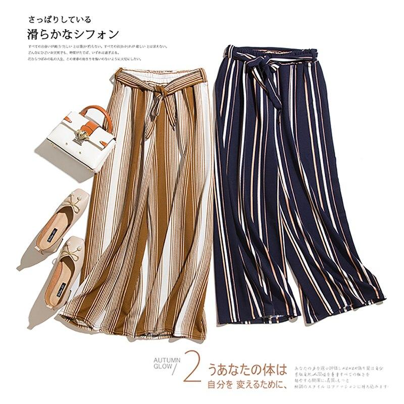 Simplee Split Striped Lady Wide Leg   Pants   Women Summer Beach High Waist Trousers Sash Casual   Pants     Capris   Female