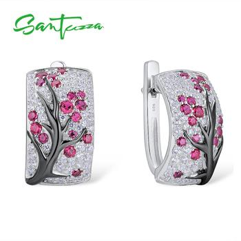 SANTUZZA Silver Earrings For Women Pure 925 Sterling Silver Pink Cherry Sparkling Cubic Zirconia brincos  Fashion Jewelry santuzza silver earrings for women pure 925 sterling silver shiny white cubic zirconia long drop earrings elegant fine jewelry