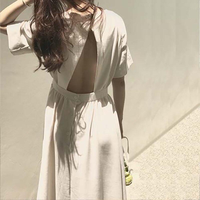 2018 women summer sexy backless elegant cotton linen white long dresses female bandage pleated vestidos casual o neck sundress