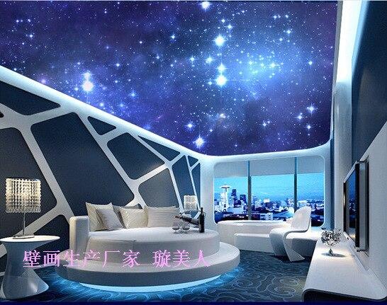 3D stereoscopic large mural in the night sky the moon KTV ceiling living  room bedroom wallpaper. Night Sky Bedroom