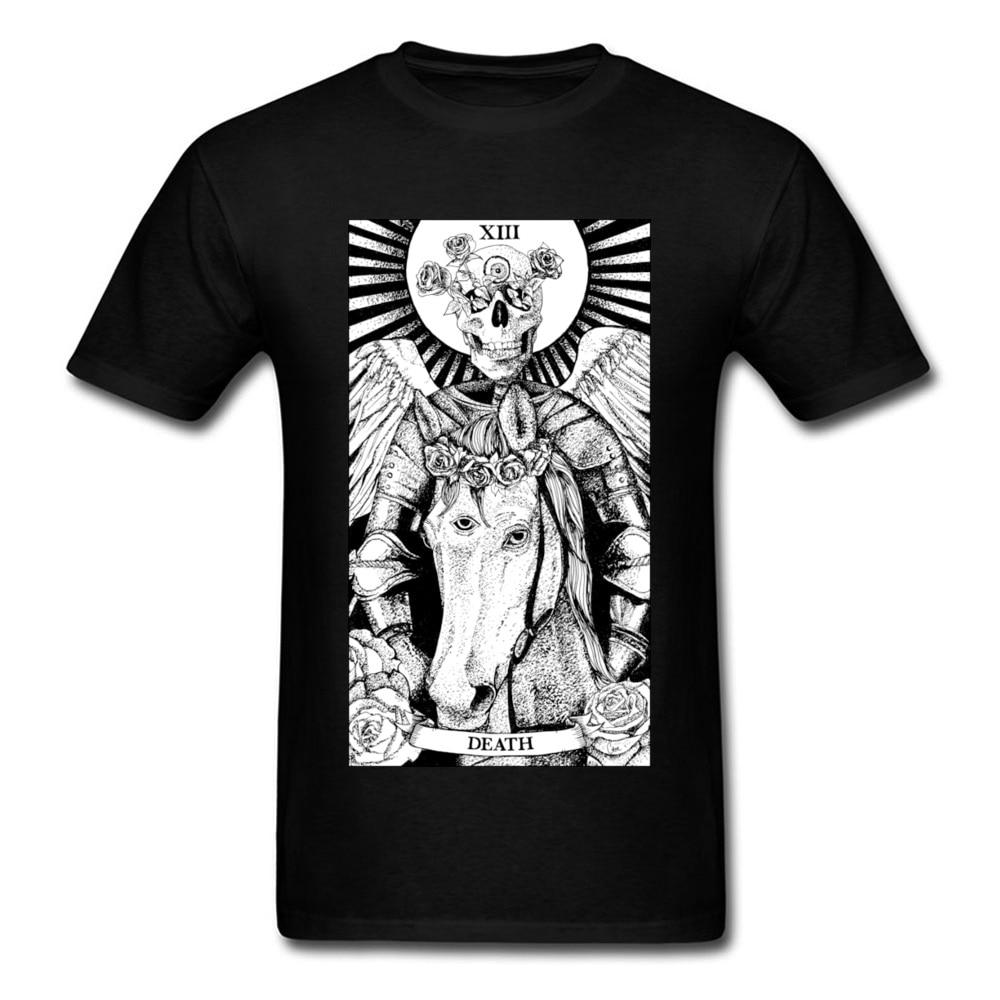 Death Tarot Skull Men Tshirt 2018 Hip Hop Metal Band Geek T Shirts For Guys Men's Fashion Cool Skull T-Shirts Cotton