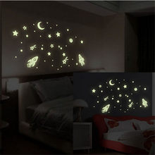 Cartoon Fluorescent Wall Stickers Decals Moon Star Home Decor Glow In The Dark Wall Sticker Poster Luminous Kids Room Decoration(China)