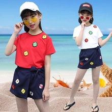 цена на kids clothes 2019 girls new fashion summer suit embroidery short-sleeved T-shirt skirt pants two-piece suit children sets