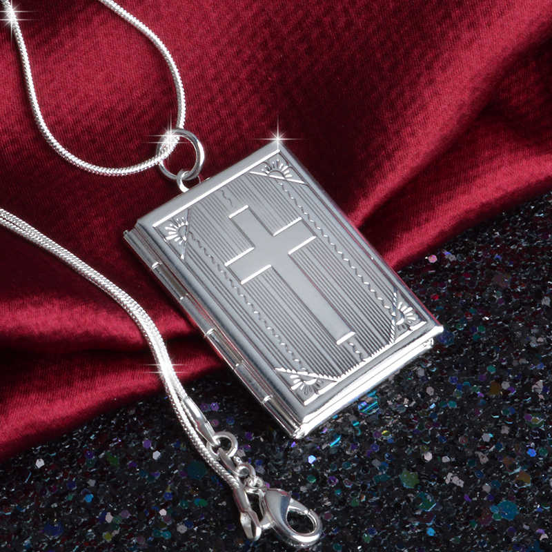 New 925 Sterling Silver Square Shape Carve Cross Locket Photo Pendant Necklace Lovers Charms Gift El Collar Jewelry
