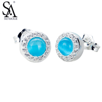 SA SILVERAGE Real 925 Sterling Silver Round Stud Earrings Geometry Jewelry Earrings