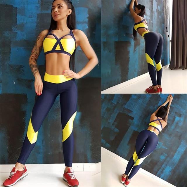 Women Tracksuit Sport Suit Yoga Set Fitness Gym Woman Sportswear Workout Kit Sports Bra Leggings Female Clothing Yellow 4