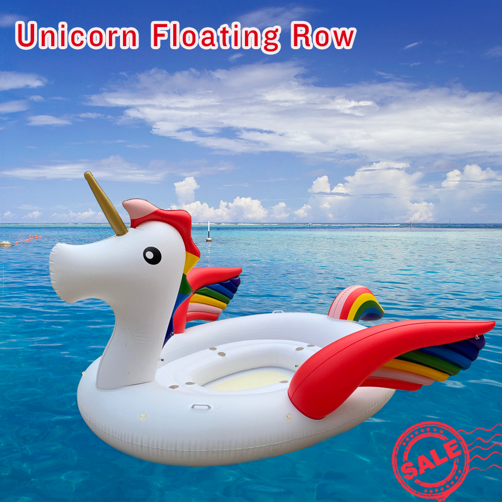 JIAINF Colorful Unicorn Pool Float PVC Giant Inflatable Unicorn Swimming Pool Island Pool Party Floating Boat For 4-Persons