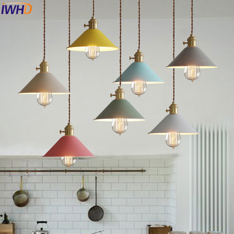 Loft Style Colored Pot Iron Droplight Edison LED Pendant Light Fixtures Dining Room Hanging Lamp Industrial Vintage Lighting american loft style iron retro droplight edison industrial vintage led pendant light fixtures dining room hanging lamp lighting