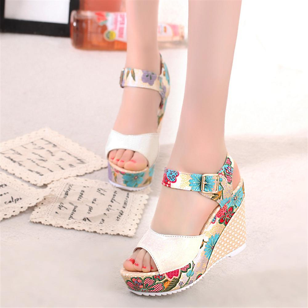 2018 Women Sandals Summer Platform Wedges Casual Shoes Woman Floral Super High Heels Open Toe Slippers Sandalias Zapatos Mujer стоимость