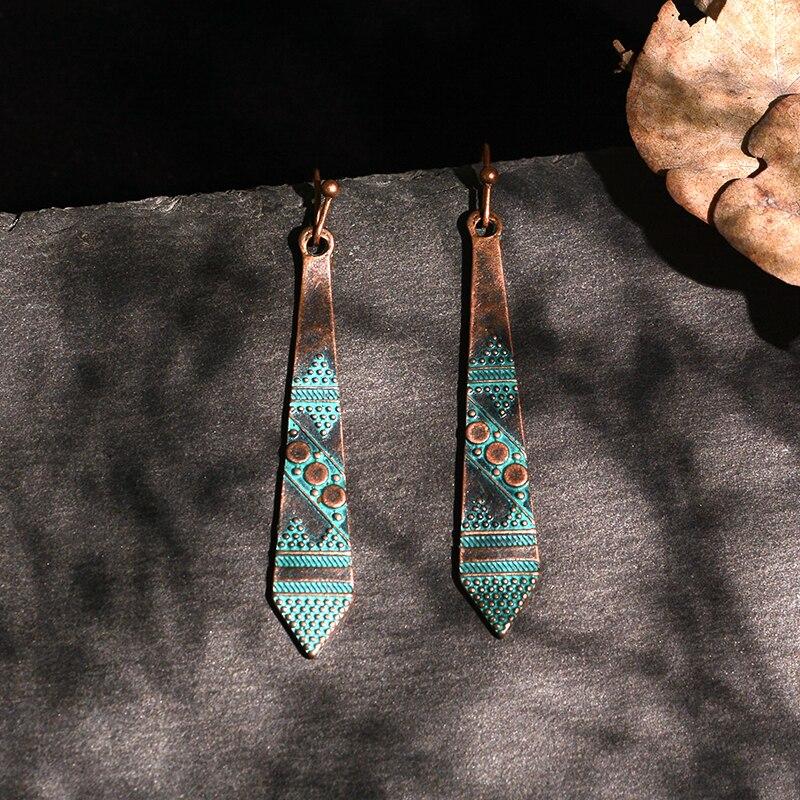 Длинные висячие серьги, металлические, зеленые, античные, этнические, народные, бронзовые, бохо, этнические бриллианты для женщин, украшения...