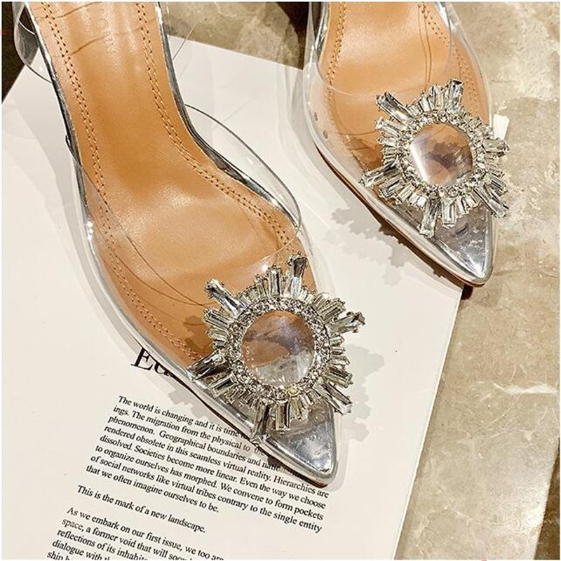 Sexy PVC High Heels Sandals Shoes Woman Silver Rhinestone Wedding Shoes 7.5cm High Heels Party Shoes Summer Height Heels Sandals 2