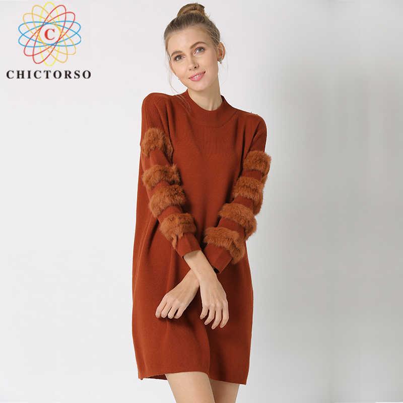Chictorso Для Женщин Свитер оверсайз меха кролика с длинным рукавом Джемперы платья
