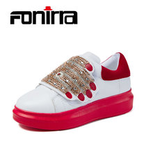 ФОТО fonirra new women casual flat shoes fashion hook loop autumn comfortable crystal design shoes for ladies increasing shoes 181