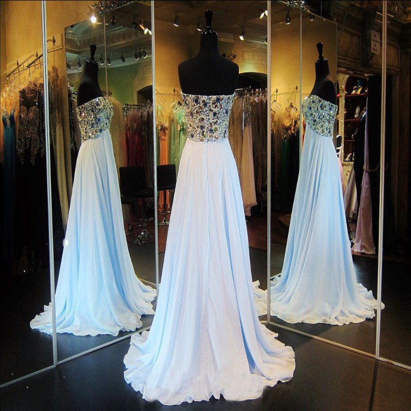 Shining 2016 Top Selling A-Line Sweetheart Crystal Jewels Chiffon Blue Evening dress for women