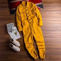 XS 5XL New autumn casual jumpsuit men's simple Slim large pocket tooling jumpsuit solid color fashion male jumpsuits