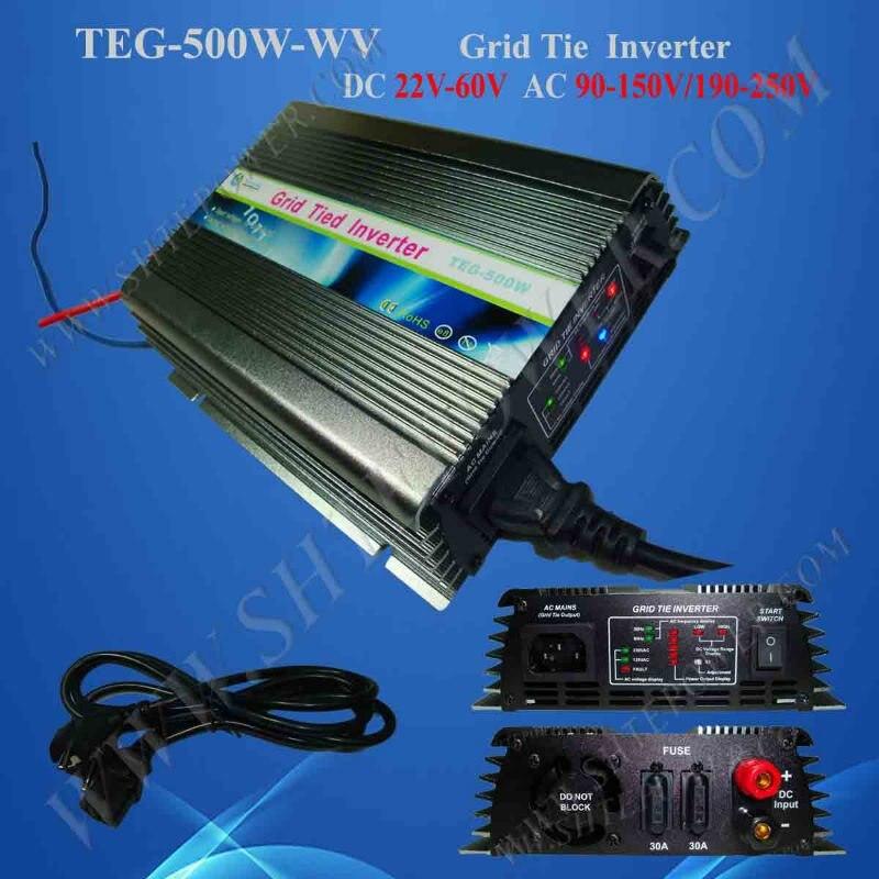 500 Вт Сетка галстук инвертор 22-60VDC до 190-260VAC MPPT функция, солнечный инвертор, чистая синусоида инвертор