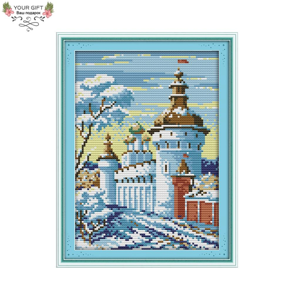 Your Gift F387 14CT 11CT Counted and Stamped Home Decoration Snowcastle Needlework Needlecraft Embroidery DIY Cross Stitch kits