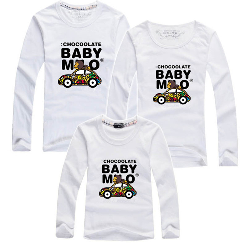 2015 autumn brand children t-shirts matching mother daughter clothes family look clothing father and son outfits plus size