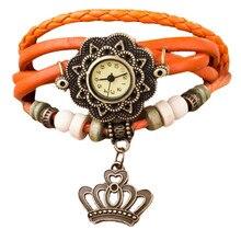 women Watch Fashion Quartz Weave Around Leather Crown Bracelet Lady Woman Wrist Watch relogio dropshopping free shipping#4.8