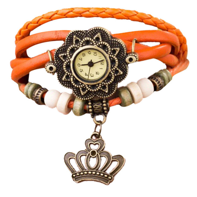 2018 Top Ladies Long Leather Strap imperial crown Bracelet Watch Vintage Punk St