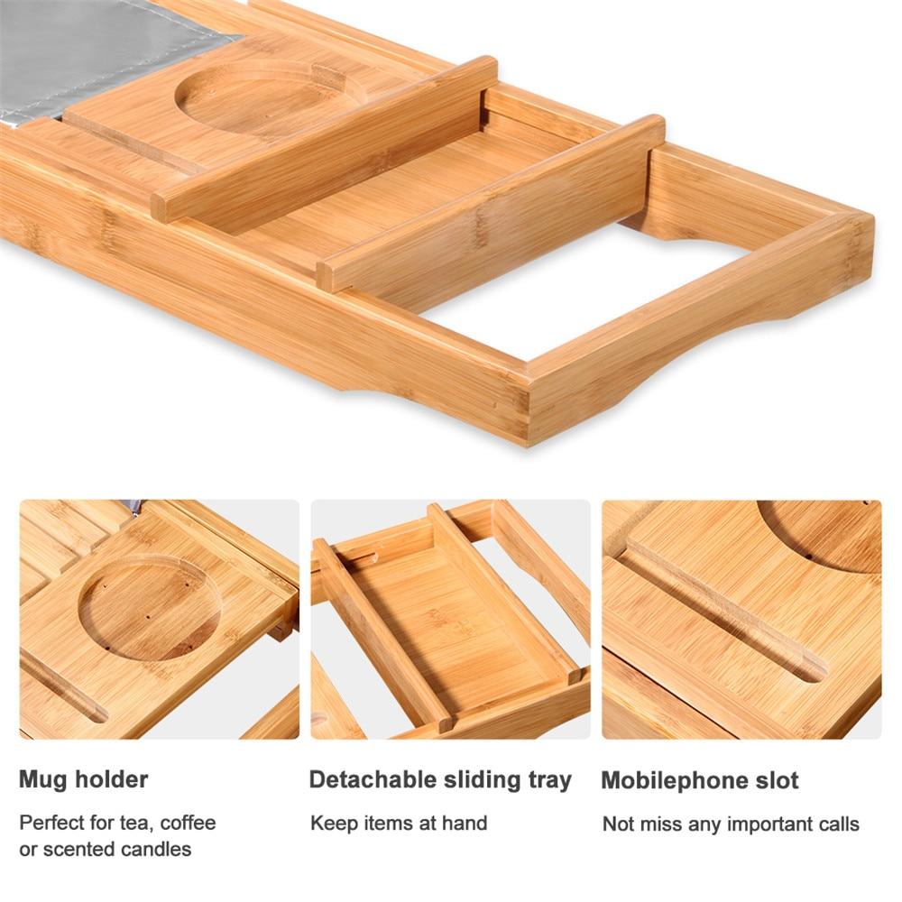 LANGRIA 100% Natural Bamboo Bathtub Caddy Tray Organizer Extendable ...