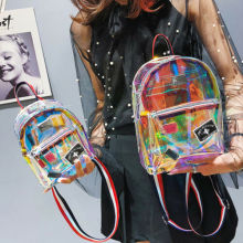 New Fashion Girl Clear Transparent See Through PVC Mini Backpack School Book Bag Laser Jelly