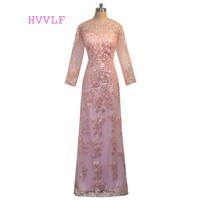 Pink 2017 Mother Of The Bride Dresses A Line Long Sleeves Appliques Sequin Groom Long Evening