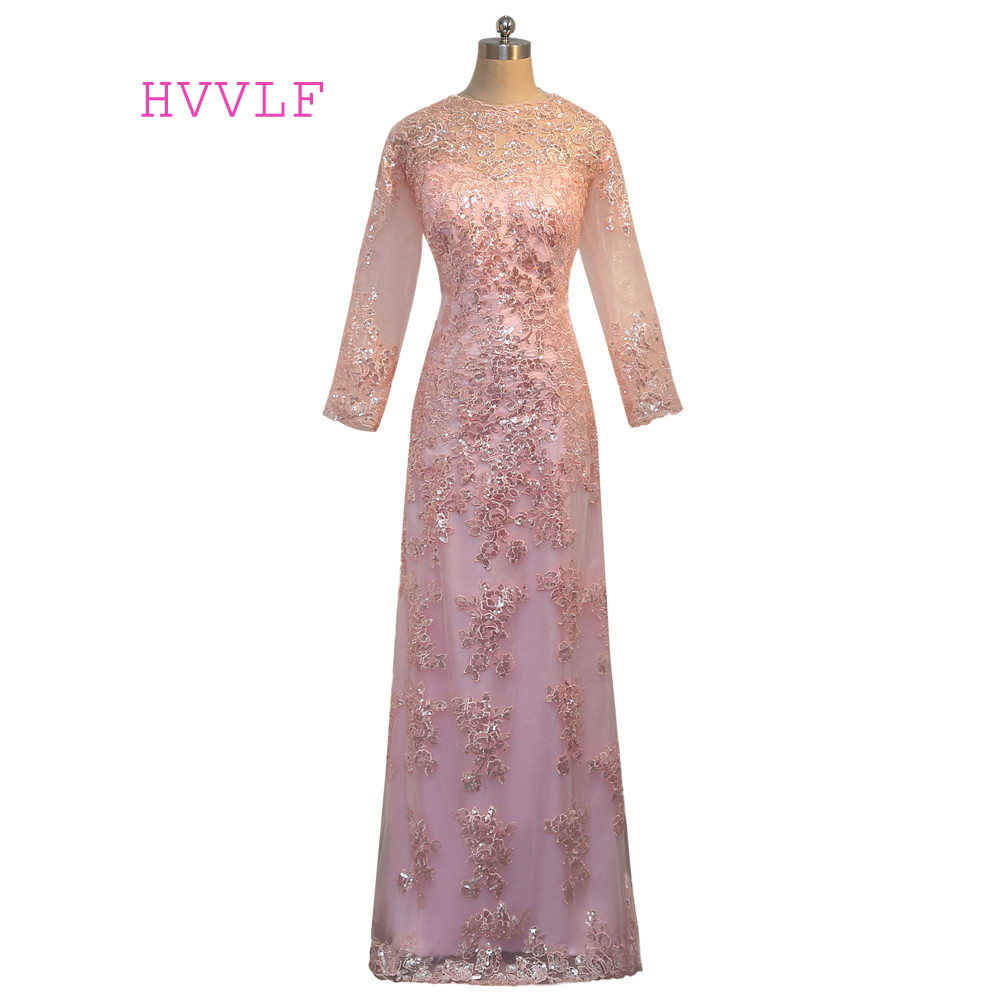Pink 2019 Mother Of The Bride Dresses A-line Long Sleeves Appliques Sequin Groom Long Evening Dresses Mother Dresses For Wedding