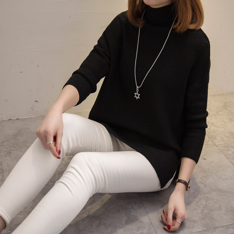 2019 New autumn and winter women turtleneck sweaters and pullovers thicken loose batwwing sleeved long knitted pullovers 0.5