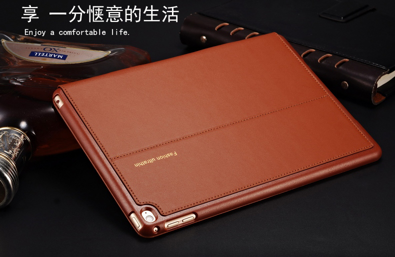 Good real genuine leather case for apple ipad air 2 cover slim thin stand flip magetic turn on/off smart protective case shell for apple ipad air 2 pu leather case luxury silk pattern stand smart cover