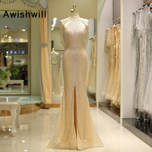 Awishwill 2019 Beading Prom Dresses Mermaid Party Dress