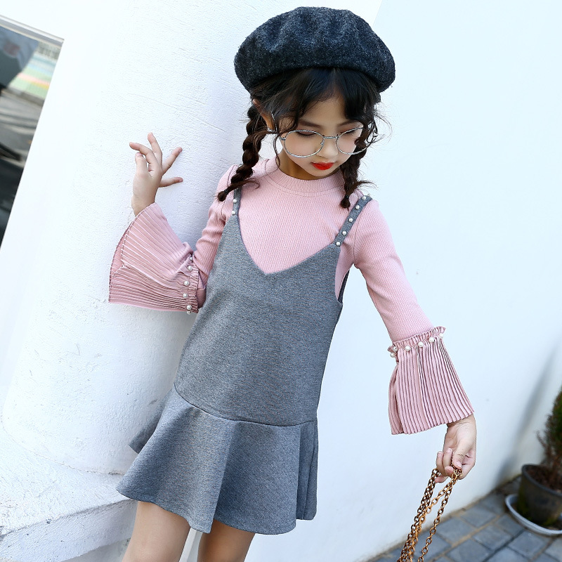 Kids clothes Girls clothing sets T-shirt and overalls suits Baby girl clothes autumn Roupas infantis menina Ensemble fille pink minnie girls clothing sets baby t shirt skirt pants two piece set kids clothes toddler girl clothing roupas infantis menina