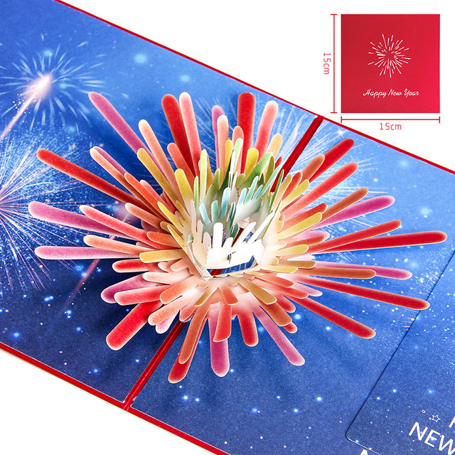happy new year spring festival card firework pop up greeting card merry christmas thank you card