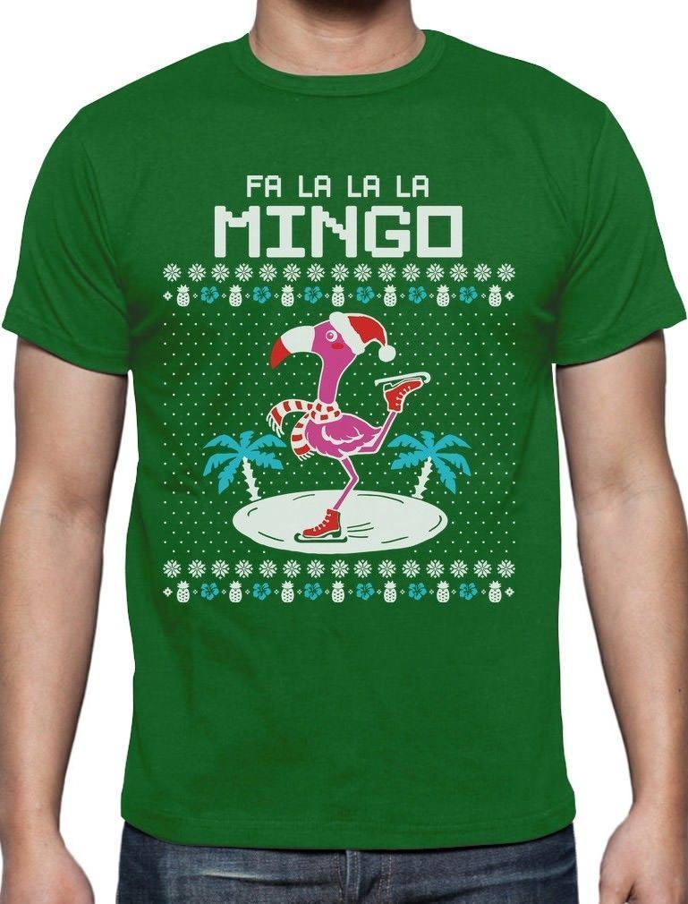 Fa La La Flamingo Ugly Christmas Sweater Funny Xmas T-Shirt Gift Idea New 2018 Fashion