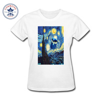 2017 Fashion Summer Style Girl's Doctor Who Blue Phone Booth Starry The Night Printed Cotton funny t shirt women